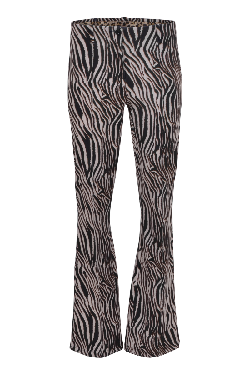 flair pantalon met klepzak op de billen en steekzakken