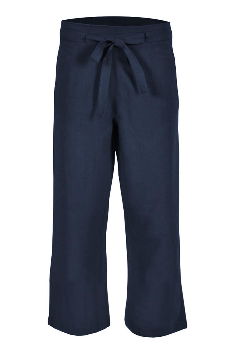 Wijd vallende linnen broek