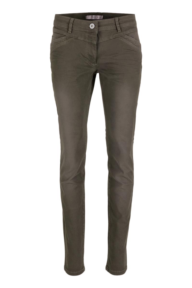 Denim broek met speelse voorzakken en stoere color denim wassing.