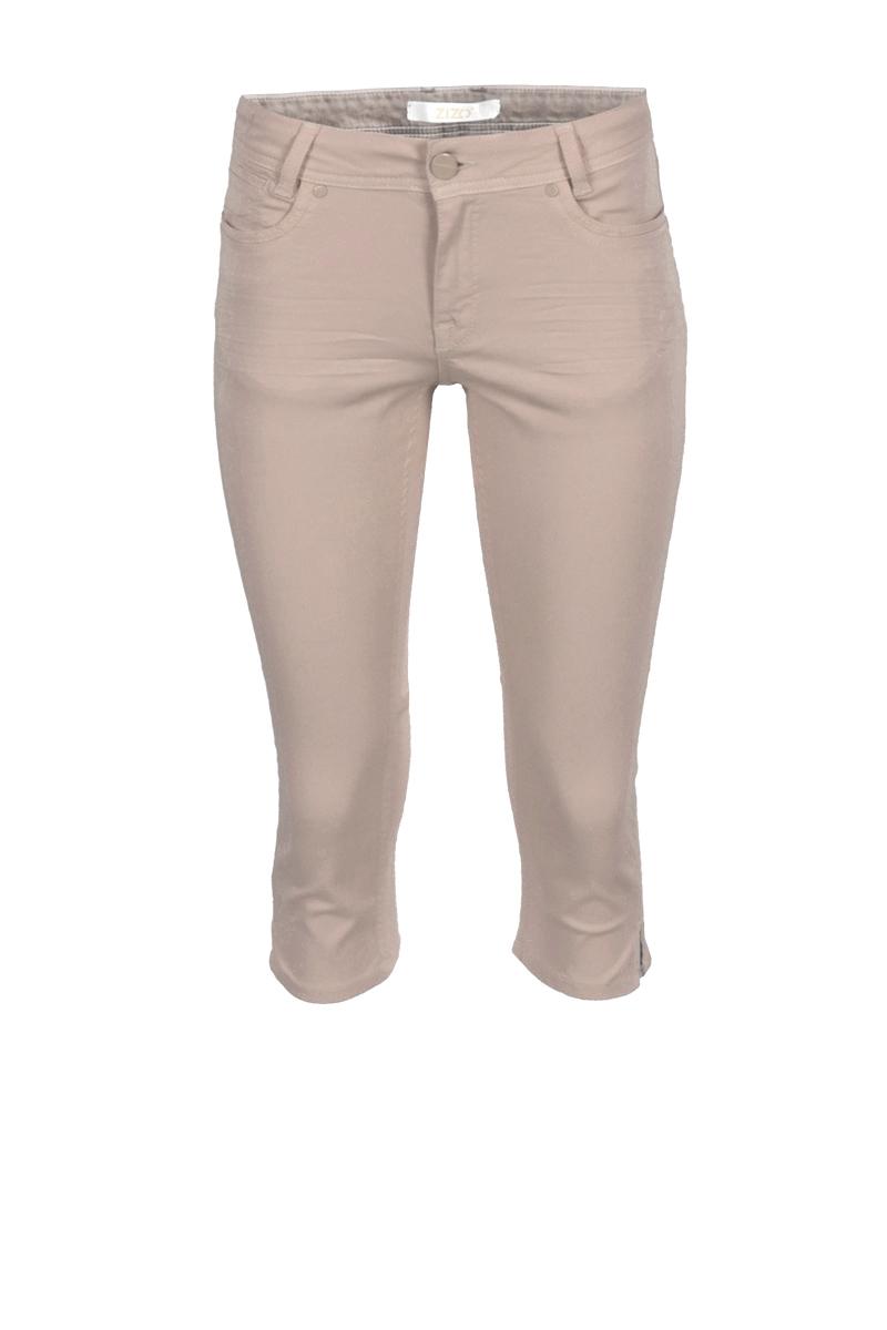 Color denim 5 pocket capri broek. De broekspijpen zijn voorzien van splitjes en zakken hebben mooie sierlijke stiksels