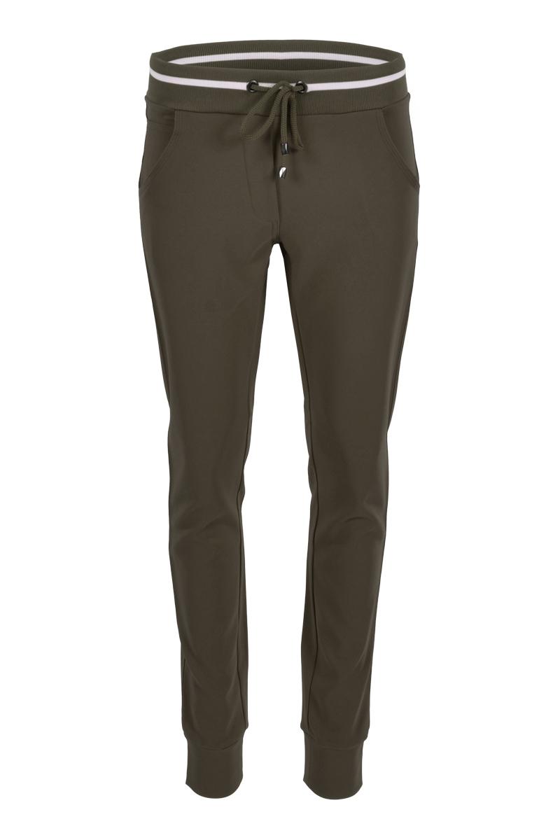 Fancy broek met tricot tailleband en aangesneden broekspijpen