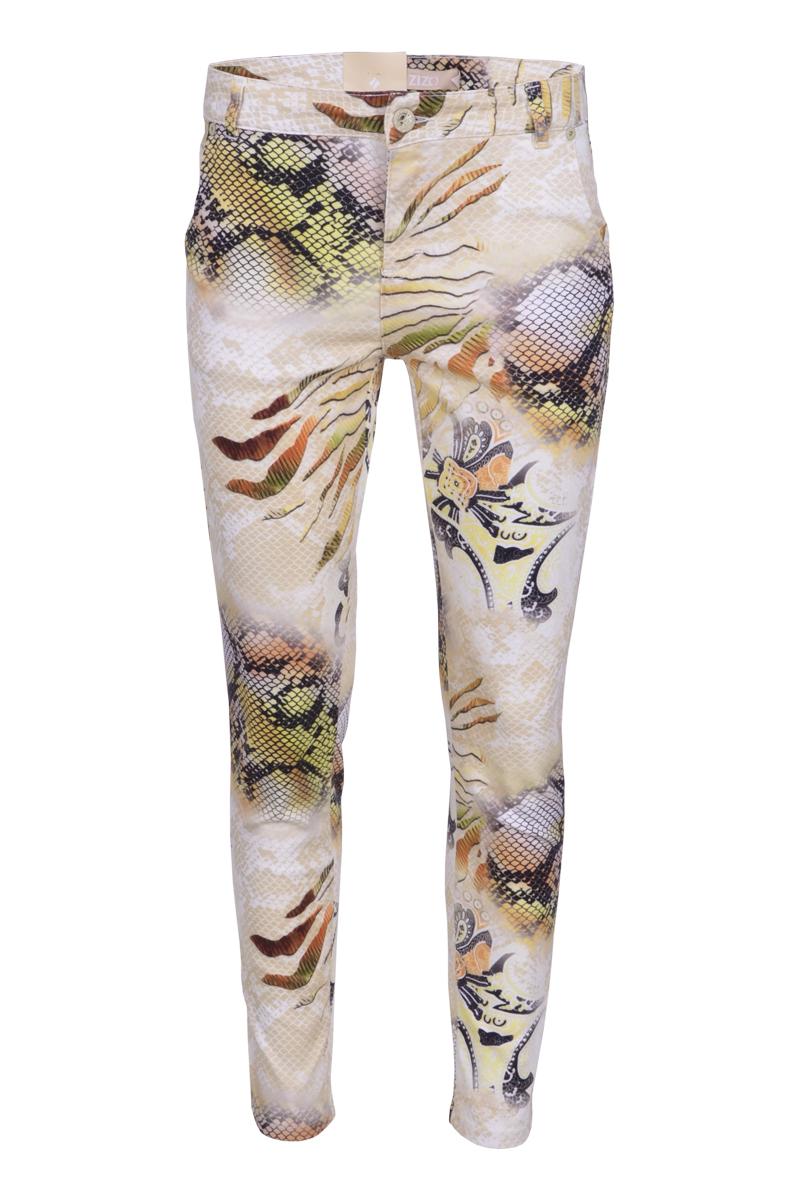 Regular fit broek met steekzakken in een mooie bedrukte satijn power kwaliteit. Binnenbeen 28 inch