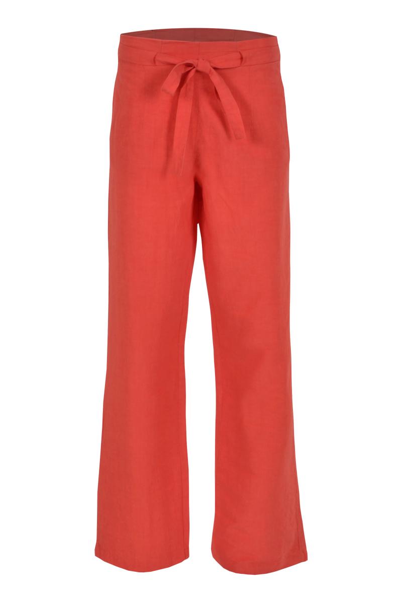 wijde vallen linnen broek met elastiek achter