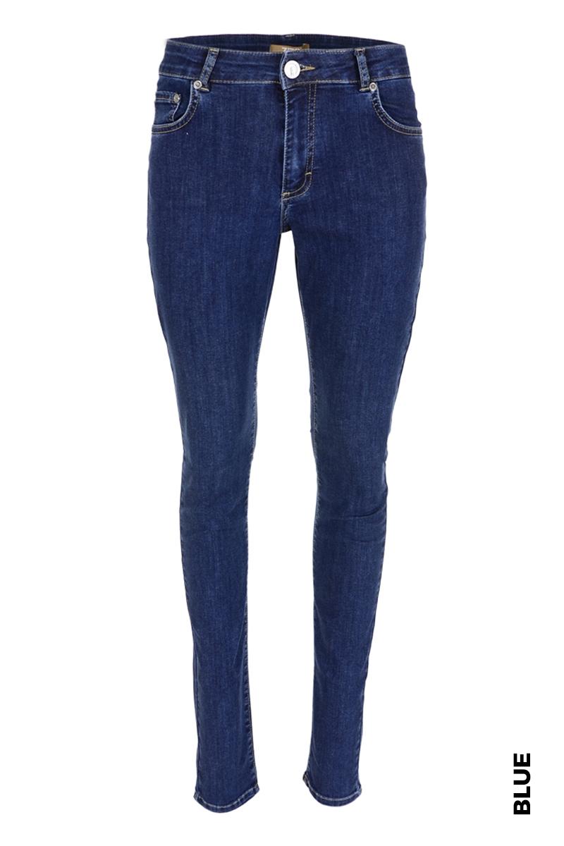 Extra skinny  long jeans in diverse wassingen . In 5-pocket model met modellerende tailleband, riemlusjes en zadelpas. Binnenbeen lengte 88 cm  Hoge front - en backrise