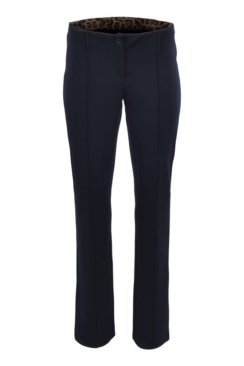 Broek met een hoge tailleband en recht lopende broekspijpen